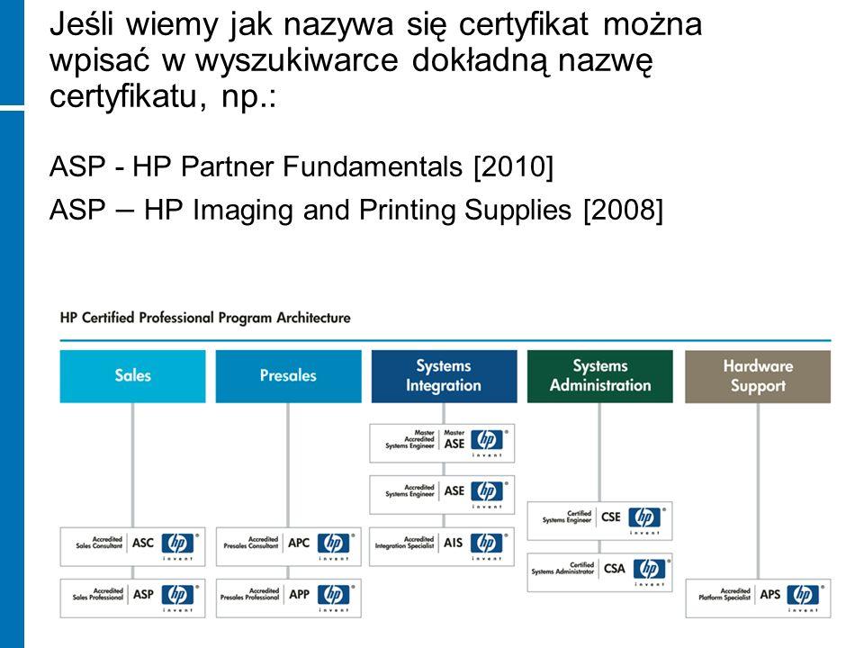 Jeśli wiemy jak nazywa się certyfikat można wpisać w wyszukiwarce dokładną nazwę certyfikatu, np.: ASP - HP Partner Fundamentals [2010] ASP – HP Imaging and Printing Supplies [2008]